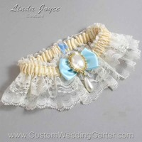 """Alice Blue and Ivory Lace Wedding Garter """"Victoria 10"""" Gold"""