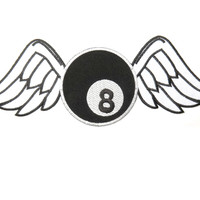"""Lucky 8 Ball Wings Big Embroidered Back Patch 11.8""""/29.8cm"""