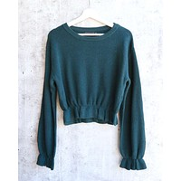 Final Sale - MINKPINK - Maddie Frilly Hem Knit Cropped Sweater - Emerald
