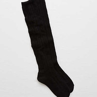 Aerie Cable Knit Over-The-Knee Socks, True Black