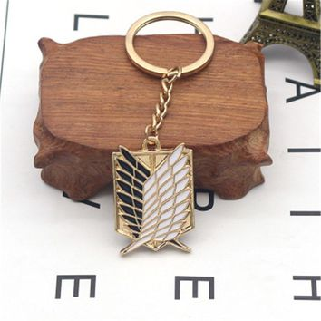Cool Attack on Titan Classic Anime Movie Keychain  Wings Of Liberty Badge Square Key Chains Keyring For Men Jewelry Gift   AT_90_11