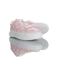 LV Louis Vuitton Men's And Women's Leather Time Out Low Top Sneakers Shoes