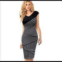 White Striped Tunic Fitted Casual Office Dress