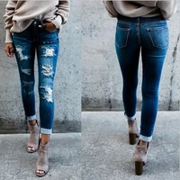 Women Fashion All-match Casual Worn Ripped Jeans Pants Trousers