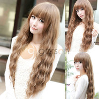 New Womens Ladies Long Corn Wavy Curly Hair Full Wig Wigs Brown Cosplay Party