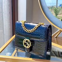 GUCCI crocodile pattern female chain bag Dionysus bag shoulder bag crossbody bag