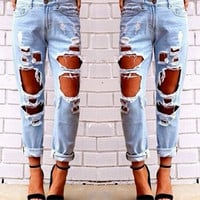 Womens Light Blue Big Hole Design Boyfriend Jeans Denim Pants