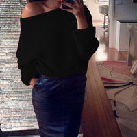 Explosion Women Warm Sweaters Pullover Sexy Off Shoulder Batwing Sleeve Sweater Solid Sweaters Pullovers 7 Colors GV428