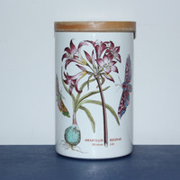 The Botanic Garden Circa 1818 Mexican Lily Portmeirion Canister with Lid, kitchen storage, cookie jar, flower decor, vintage kitchen