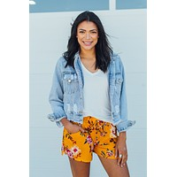 Grace & Lace Summer Floral Shorts - Goldenrod Floral