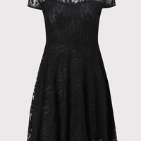 Black Lace Pleated Plus Size Round Neck Elegant Party Midi Dress