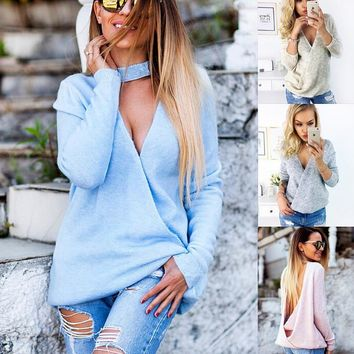 Sexy two-sided V neck shirt sweater 1018DY