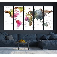 Wall Art Printing World Map Push Pin Prints On Canvas The Picture Travel World Map Pictures For Home Modern Decoration Print Decor For Living Room