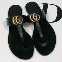 GUCCI G GG Woman Men Fashion Slippers Sandals Flat Shoes Gold