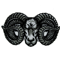 Evil Ram Horns Goat Head Patch Iron on Applique Alternative Clothing
