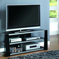 """Glossy Black/Silver Metal 48""""L TV Console with Tempered Glass"""
