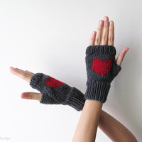 Hand Knit Fingerless Gloves in Dark Grey - Red Embroidered Heart - Grey Seamless Knit Gloves - Wool Blend - made to order