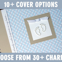 Personalized Pregnancy Journal / Gender Neutral Pregnancy Memory Book / Blue & Gray Circles with Baby Footprints Charm
