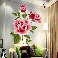 3D Removable Rose Flower PVC Wall Sticker Home Decor