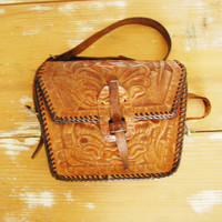 Vintage 60s Tooled Leather Flip Purse Brown Boho Shoulder Bag