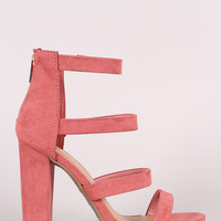 Bamboo Strappy Suede Ladder-Up Chunky Heel