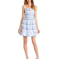 Taylor Dresses Women's Stripe Fit and Flare Dress, Chambray/White, 4 Missy