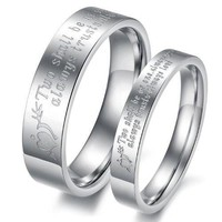 """(Male+Female)Silver Arrow&Heart """"Two shall be as one. Always protects. Always trust. Always love"""" 316 l Stainless Steel Wedding Band Anniversary/Engagement/Promise/Couple Ring Best Gift! = 5987810497"""