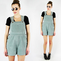 vtg 90s grunge revival club kid SEAFOAM green CORDUROY suspender OVERALL romper jumper shorts S M