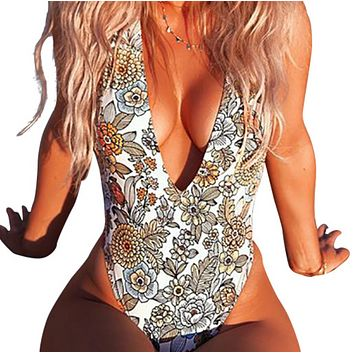 Hot sale hot sale sexy deep V printed swimsuit