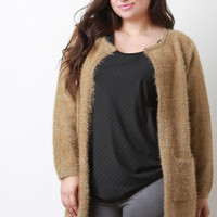 Plush Metallic Knit Pocket Cardigan