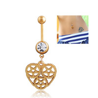 New Charming Dangle Crystal Navel Belly Ring Bling Barbell Button Ring Piercing Body Jewelry
