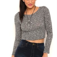 Long Sleeve Haaci Crop Top with Ribbed Detail