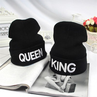 2016 New Hot Sale King Queen Black Beanie Winter Hats Cap Men Women Knitted Hiphop Hat Stocking Hat Beanies Couple Warm Cap