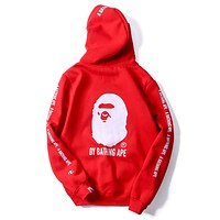 Champion X Bape Trending Women Men Casual Long Sleeve Hooded Sweatshirt Sportswear Red I-A-KSFZ