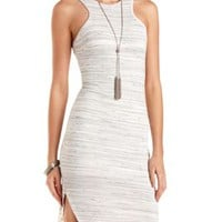 Curved-Hem Racer Front Bodycon Dress