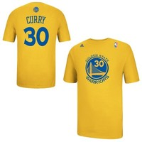 adidas Stephen Curry Golden State Warriors Player Name & Number T-Shirt - Gold
