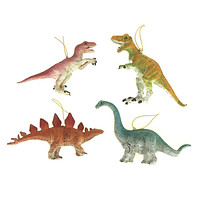 Homeford Plastic Dinosaur Ornaments, 4-Inches, 4-piece