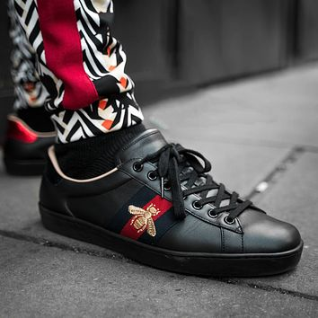 GUCCI Tide brand embroidered bee low-top flat sneakers shoes