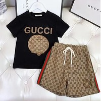 GUCCI Boys and girls middle and large children's baby Pullover short sleeved pants