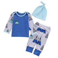 Autumn Spring 3PCS Set Newborn Baby Girl Boys Tops T-shirt +Long Pants Hat Outfits Clothes Set