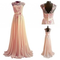 PrettyDresses Women's Round Neckline Long Lace Wedding Party Prom Dresses