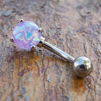 Prong Set Purple Opal Belly Button Ring Synthetic Opal