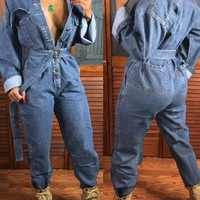 New Light Blue Single Breasted Pockets Denim Long Sleeve Casual Long Jumpsuit