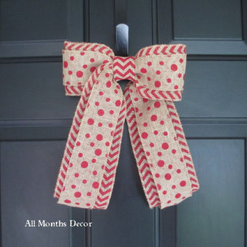 Red Polka Dot over Red Chevron Bow