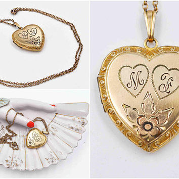 Vintage LS & Co. 10K Yellow Gold Filled Heart Locket Necklace, 12K GF Lustern Cable Chain, Floral, Hearts, Initials M F, Nice! #c495