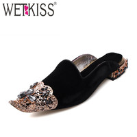 WETKISS Luxury Velvet Women Bling Bling Crystal Pointed toe Shoes Woman Summer Sheepskin Liner Party Mules Low Square Heel Pumps