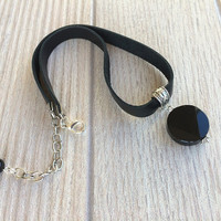 Black onyx choker, Black leather necklace, Onyx pendant, Christmas gift, Statement jewelry, Silver jewellery, Gift for women, Birthday gift