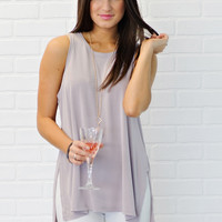 * Hariata Tank With Side Slits - Dusty Rose