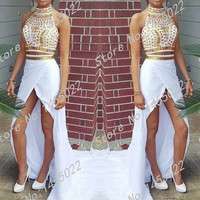 Two Piece White and Gold Prom Dresses with Rhinestones High Quality Mermaid Side Slit Beaded Crystals Long Evening Dresses