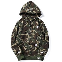 BAPE AAPE Newest Trending Unisex Stylish Print Army Green Camouflage Hoodie Velvet Sweater Top Sweatshirt